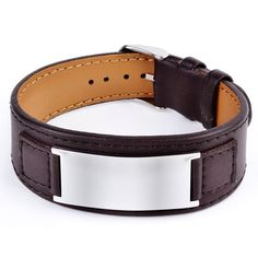 Rugged in leather, this mens identification cuff features a stainless steel plate custom engraved with a name, medical details, or a message. This handsome bracelet will keep him safe and stylish. The adjustable buckle closure accommodates most sizes.