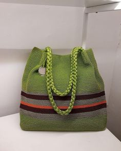 """New Cheap Bags. The location where building and construction meets style, beaded crochet is the act of using beads to decorate crocheted products. """"Crochet"""" is derived fro Crotchet Bags, Bag Crochet, Crochet Handbags, Crochet Purses, Knitted Bags, Free Crochet, Striped Shoulder Bags, Crochet Shoulder Bags, Diy Drawstring Purse"""