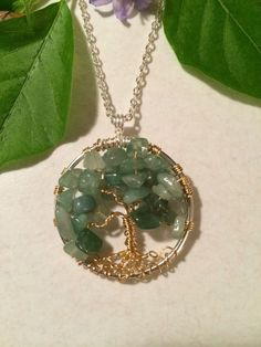Aventurine Tree of Life --- Necklace Green Pendant GoldTrunk On Silver Chain Wire Wrapped Semi Precious Gemstone Jewelry