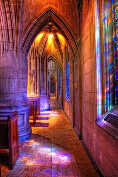 # Colorful Window reflection at Heinz Chapel, Pittsburgh, Pennsylvania.