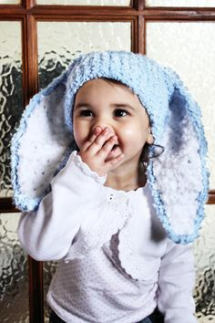 6 to 12m Blue Baby Hat Crochet Bunny Beanie Boy Photo by BabaMoon, $28.00