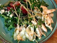 Classic Greek Salad Topped with Grilled Calamari Skewers : Recipes : Cooking Channel