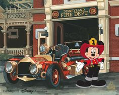 Mickey Mouse is dressed in his fireman best as he stands proudly in front of the Disneyland Fire Dept. on Main Street, U. at Disneyland park, Ink & Paint Cel. Met this Disney artist 🎨 Firefighter Humor, Firefighter Pictures, Volunteer Firefighter, Mickey Mouse And Friends, Disney Mickey Mouse, Minnie Mouse, Disney California Adventure Park, Disney Artists, Antique Trucks