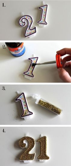 Decorations: DIY Glitter Candles Glitter Candles, perfect for a glitzy and glam birthday celebration!Glitter Candles, perfect for a glitzy and glam birthday celebration! Golden Birthday Parties, Birthday Fun, Cake Birthday, 21st Party, Diy 21 Birthday Gifts, Golden Birthday Cakes, Glitter Birthday Cake, 21st Birthday Presents, 50 Party
