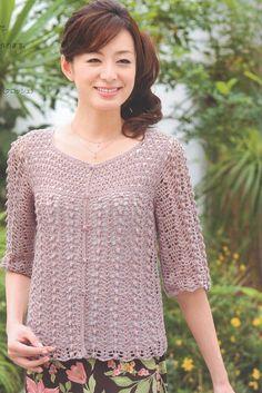 PDF Crochet Women Lace Top Pattern Japanese Craft by DotsStripes Crochet Coat, Crochet Cardigan, Crochet Clothes, Crochet Diagram, Free Crochet, Caron Yarn, Knitting Patterns, Crochet Patterns, Beautiful Crochet