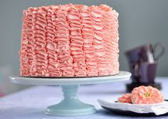 Ruffle Cake via Sweetapolita- Swiss Meringue Buttercream recipe Pink Ruffle Cake, Coral Cake, Ruffled Cake, Peach Cake, Swiss Meringue Buttercream, Buttercream Recipe, Buttercream Ruffles, Pink Frosting, Meringue Icing