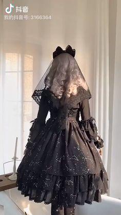 The Whisper Of Stars ~ Gold Stamping Constellation Lolita OP (Stars Trim) / JSK - women dressing Moda Fashion, Cute Fashion, Fashion Models, Gothic Lolita Fashion, Gothic Dress, Mode Lolita, Lolita Style, Gothic Mode, Japanese Street Fashion