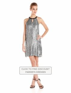 Parker #Womens #Sansa #Sequin #Halter #Shift Dress with #Keyholes #Dresses #Parker @parkernewyork #PolkaDot #Polyester #Silver #WTS #WhoTopsSyle