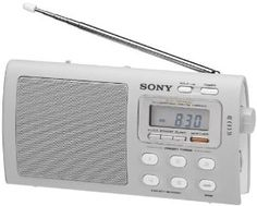 """Sony ICF-M410V Portable FM/AM/TV/Weather Radio with Sleep/Turn-on Timer by Sony. $49.99. Sleek, portable radio / Digital Tuning with 5 One-touch Keys / 20 Programmable Station Memory Presets / 3"""" Speaker / CREAM"""