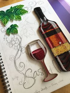 Handmade paper quilling Sassy Wines made to order by SinyeeCraft