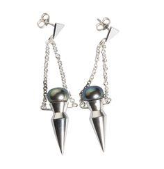 SPIKE PEARL EARRINGS  sterling silver earrings with black fresh-water pearl