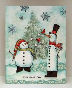 Snow Much Fun Snowman Card...by Sylvia Nelson, Sylvia's Stamp Corner, Stampin' Up!