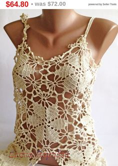 Sale Sexy lace top/ Crochet Top/ Boho Chick Cream от ElenaVorobey