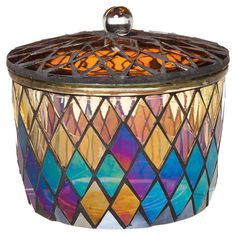 With a beautiful, mosaic-inspired design, this glass trinket box is perfect set atop your dresser or resting on a wall shelf for a colorful display.