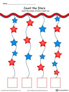 **FREE** Patriotic Count and Write the Number of Stars in Color Worksheet.Count and match write the number stars in this patriotic math printable worksheet. Independence Day Theme, Independence Day Activities, Math Activities For Kids, Preschool Lesson Plans, Free Preschool, Preschool Activities, Numbers Preschool, Kindergarten Worksheets, 4th July Crafts