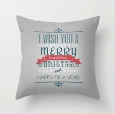 Christmas Decorative Throw Pillows Merry By MonochromeStudio