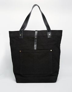 ASOS | ASOS Oversized Tote Bag In Black Canvas And Leather at ASOS