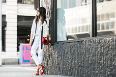 All White :: Ruffle blouse & White boyfriend jeans :: Outfit :: Top :: Chloe Bottom :: James Jeans Bag :: Chloe Shoes :: Christian Louboutin Accessories :: Karen Walker sunglasses, faux fur charm, Casio watch, Hermes leather wrap Published: March 28, 2016