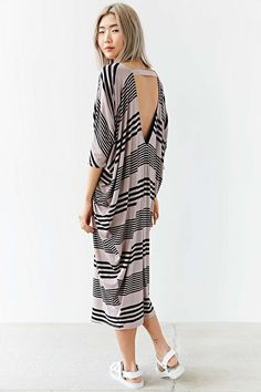 Silence + Noise V-Neck Striped Tee Dress - Urban Outfitters