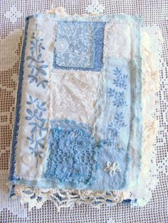 Mixed Media Quilted Fabric Art Book Handmade Fabric Lace Journal Shabby Chic Collage Altered Art Journal Junk Journal Scrapbook Diary Blue