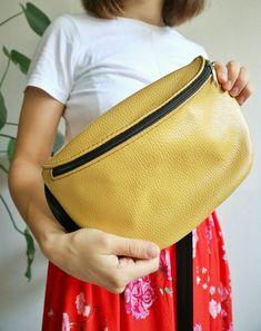 Yellow and black leather bag Belt bag Funny pack Woman s leather bag Travel  bag Minimalism Hip be00019ac6b4d