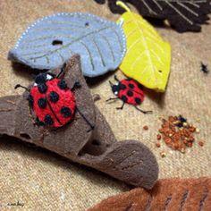 "Ladybug felt applique and embroidery mini bag by e.no.bag ""テントウムシ ノ バッグ "" #ladybug #felt #embroidery #ladybug"