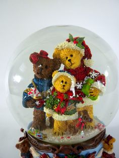 Christmas Bear Snow Globe We Wish you a Merry by oldandnew8, $22.00