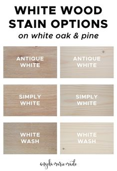 White wood stain options that are easy to find locally or online. See photos of how these whitewash wood stains actually look on white oak wood and pine wood! Learn the difference between white stain vs white paint for how to whitewash wood too! White Wood Stain, Oak Wood Stain, Stain On Pine, White Oak Wood, Wood Stain Colors, White Oak Floors, How To Stain Wood, Stain Colors For Cabinets, Staining Pine Wood