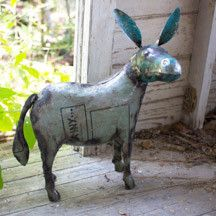Oh my, this is about as unique and great as it gets. This handcrafted donkey is made from recycled and reclaimed metal and handcrafted by skilled artisans who have a love for their craft and an eye fo