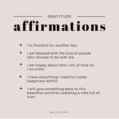 "Nov 14, 2019 - Love & Awareness on Instagram: ""@allcutified 🌸 Gratitude Affirmations ❤"" Positive Affirmations Quotes, Morning Affirmations, Affirmation Quotes, Positive Quotes, Love Quotes For Boyfriend, Love Quotes For Him, Quotes To Live By, Gratitude Quotes Thankful, Gratitude Ideas"