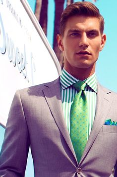 Suit and Tie / tan and greens. / Men Fashion