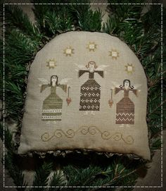 Christmas Angels / Primitive Cross stitch by TheSubRosaDesign