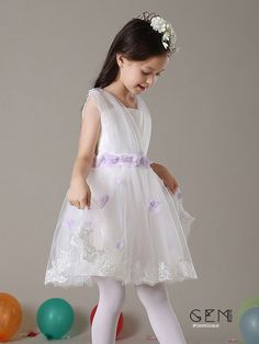 Charming little girls wedding dress with petals, flower girl dress in white, custom couture quality girls pageant gown