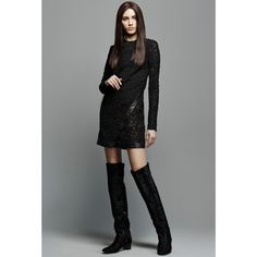 Tom Ford - Leather-trimmed lace mini dress