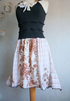 Etsy Transaction - Upcycled Dress Shabby Chic Clothes Black Brown Cream Plaid Women's Clothing Lace Floral Medium 'WALK In The PARK'