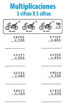 Multiplicación de 3 cifras por 5 cifras