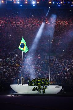 #RIO2016  Flag of Brazil during the Opening Ceremony 2016 on Olympic Games at Maracana Stadium on August 5 2016 in Rio de Janeiro Brazil