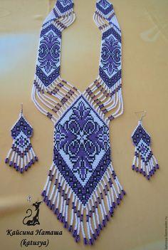 """Купить Гайтан (гердан) из бисера """"Сиреневые мечты"""" - фиолетовый, гайтан, Украшение ручной работы"""