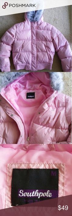 South Pole PINK Puffer/Bomber Jacket It is never too early to pick up your ?winter coat? South Pole Puffer/Bomber Jacket Light Pink with grey faux fur good trim. Zipper & Snap Closure  NO rips, tears or stains Shell=100% Nylon /Lining=100% Polyester/ Fill=38% Down/62% Feathers South Pole Jackets & Coats Puffers