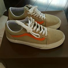 vans suede sneakers beige with orange stripe only worn once. almost new, only small scuffs shown in last image. best fits a big 6.5 or a small 7. box says 6.5, but they run big Vans Shoes Sneakers