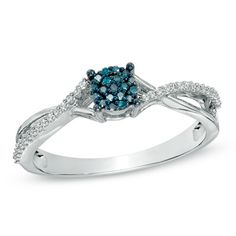 I've tagged a product on Zales: 1/8 CT. T.W. Enhanced Blue and White Diamond Cluster Split Shank Ring in 10K White Gold