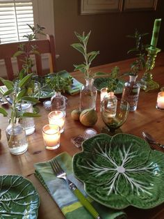 Wonderful table setting in green by Ted Kennedy Watson