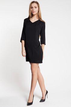 Vero Moda HILO 3/4 SHORT DRESS Siyah Elbise ::