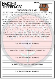 10 worksheets to help reinforce making inferences & drawing conclusions as a reading strategy. Worksheets contain a reading passage with questions asking students to make 3 inferences about the text and explain how they made each of their inferences (using clues from the text or drawing connections to their life).  A great review or homework activity. non prep printable workbook activity reading comprehension making inferences strategy teaching learning child classroom school education