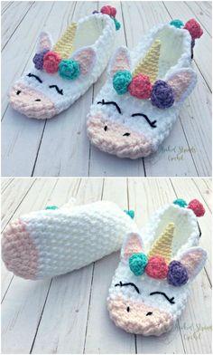 Everyone loves these Crochet Unicorn Slippers stuff Unicorn Crochet Slippers Gift Idea Crochet Gifts, Cute Crochet, Crochet For Kids, Knit Crochet, Crochet Summer, Crotchet, Easy Crochet, Knitted Slippers, Crochet Baby Booties