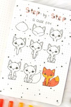 best animal bullet journal DOODLES with step by step tutorials Bullet Journal Aesthetic, Bullet Journal Art, Bullet Journal Ideas Pages, Bullet Journal Inspiration, Cute Easy Drawings, Kawaii Drawings, Doodle Drawings, Doodle Art For Beginners, Easy Doodle Art