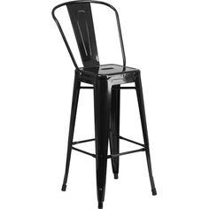 30-Inch High Metal Indoor-Outdoor Barstool with Back - Black