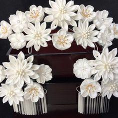 つまみ細工簪3点セット ~花嫁かんざし 白