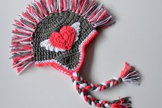 So sweet for Valentine's Day gifts! Crochet mohawk heart hat for babies, kids and adults on Etsy