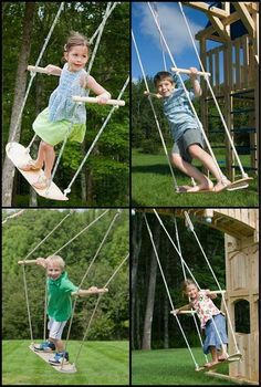Backyard Playground Ideas Outdoor Playset Jungle Gym Ideas - sandy henderson - Re-Wilding Kids Yard, Backyard For Kids, Diy For Kids, Zip Line Backyard, Backyard House, Play Yard, Tree House Designs, Diy Tree House, Tree House Swing Set